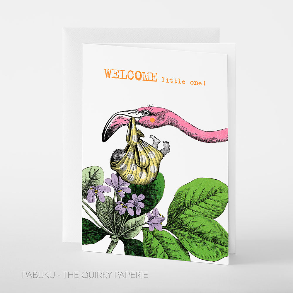 Welcome Flamingo Card - Northlight Homestore