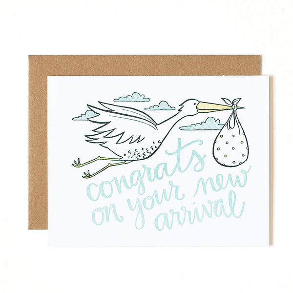 Stork Congrats Letterpress Card - Northlight Homestore