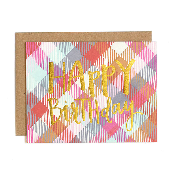 Birthday Plaid Foil Card - Northlight Homestore