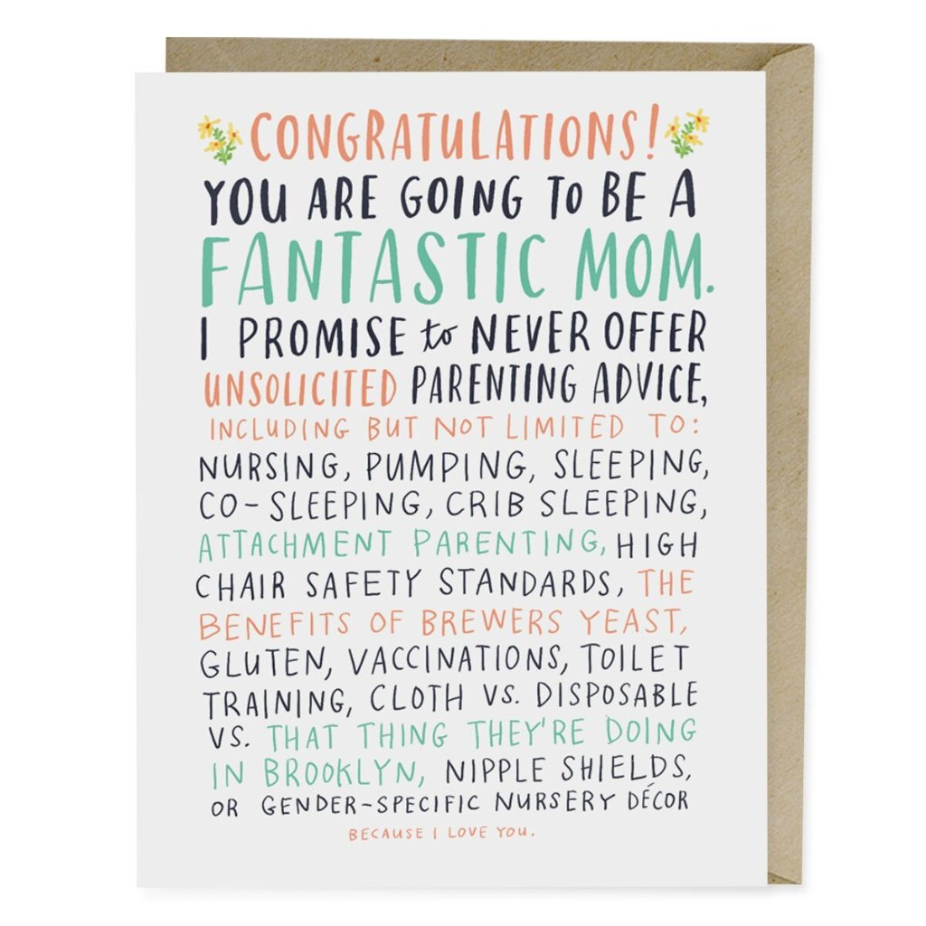 Unsolicited Parenting Advice Baby Card - Northlight Homestore