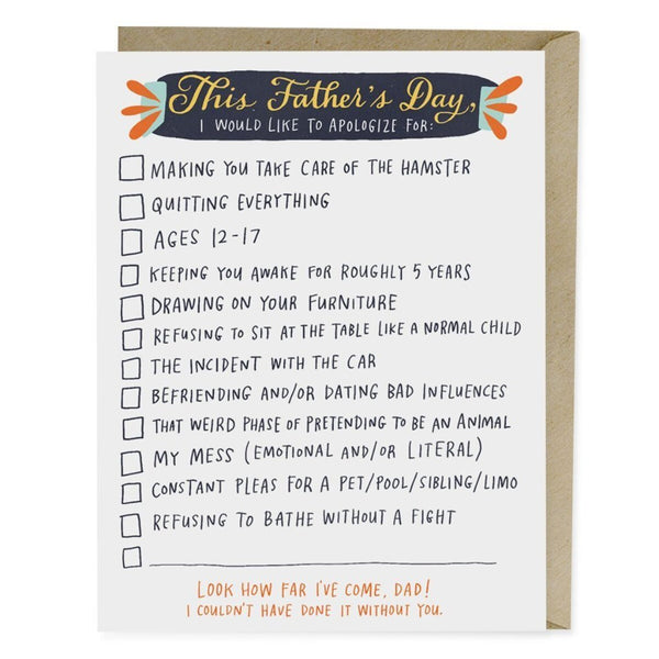Checklist Father's Day Card - Northlight Homestore