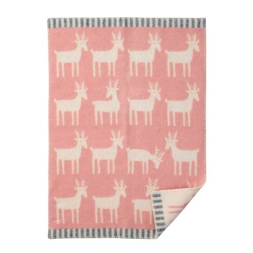 Deer Powder Pink 65x90cm Eco Lambswool Blanket
