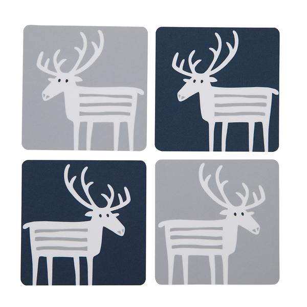 Reindeer Coasters Birchwood Set of 4