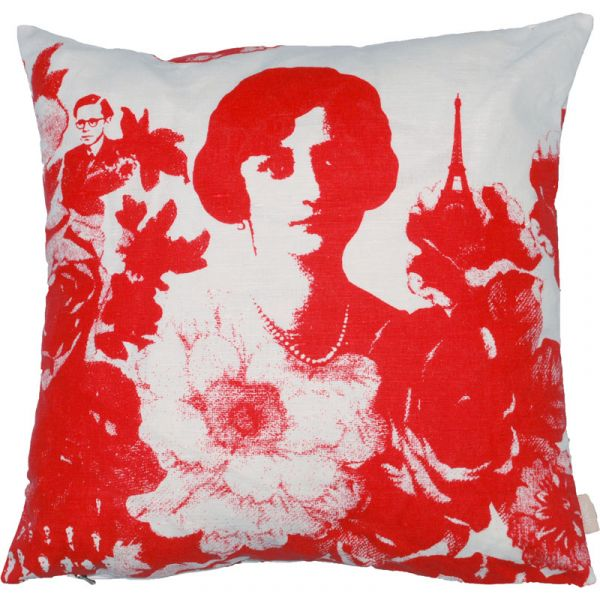 Mademoiselle Red 48x48cm Linen/Cotton Cushion Cover