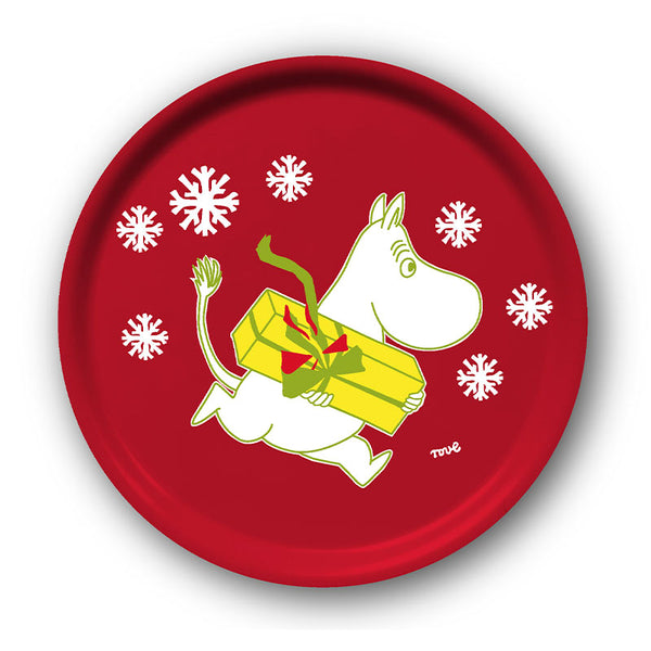Moomin Christmas Ø38cm Red Birchwood Round Tray