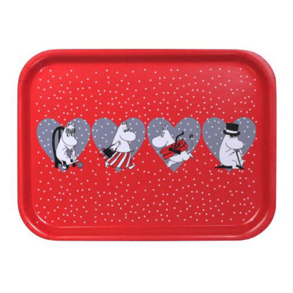 Moomin Christmas Heart 20x27cm Red Birchwood Tray