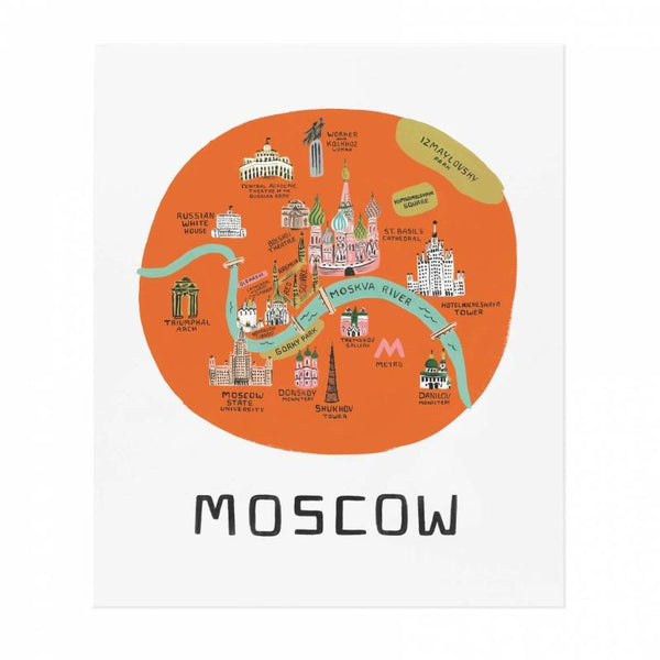 Moscow Map 18x24 Art Print