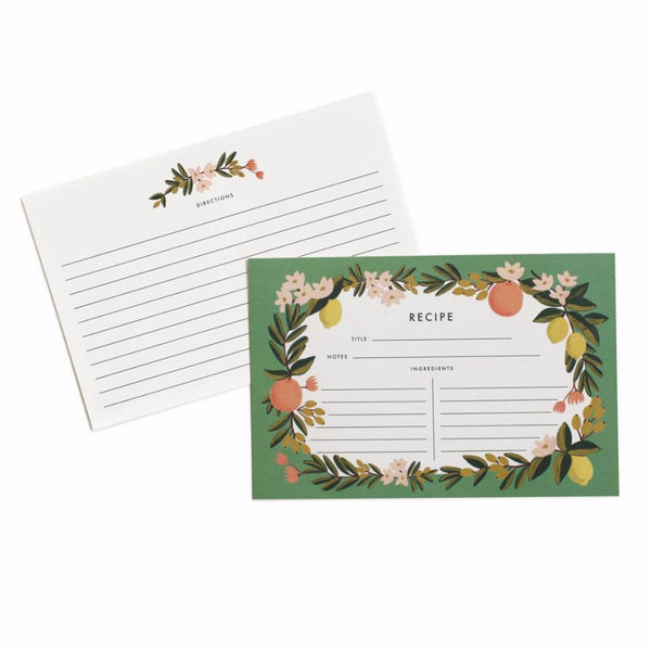 Citrus Floral Recipe Cards - Northlight Homestore
