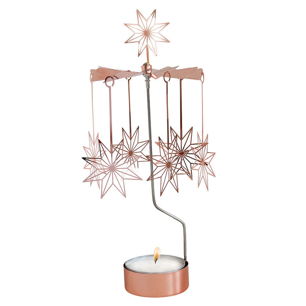 Big 8 Pointed Star Copper Rotary Candle Holder