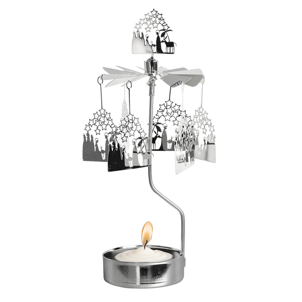 Crib Silver Rotary Candle Holder