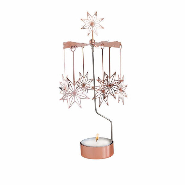 8 Pointed Star Copper Rotary Candle Holder