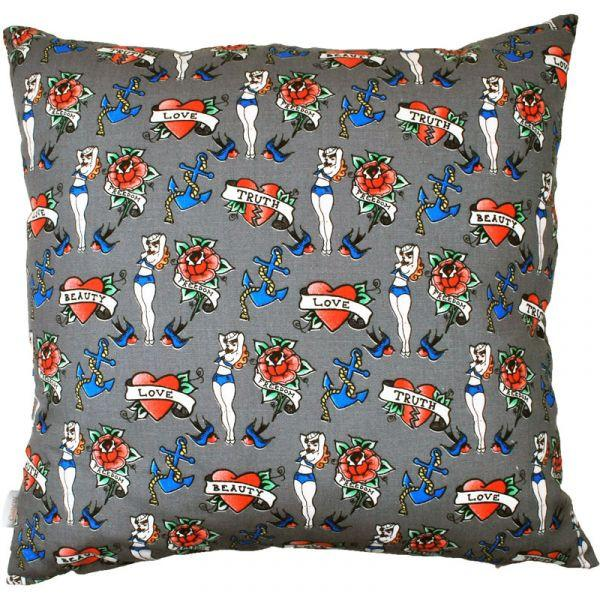 Tattoo'd Sailor Grey 48x48cm Cotton Cushion Cover