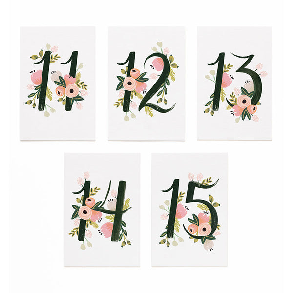 Botanical Table Numbers 11-15 Place Cards