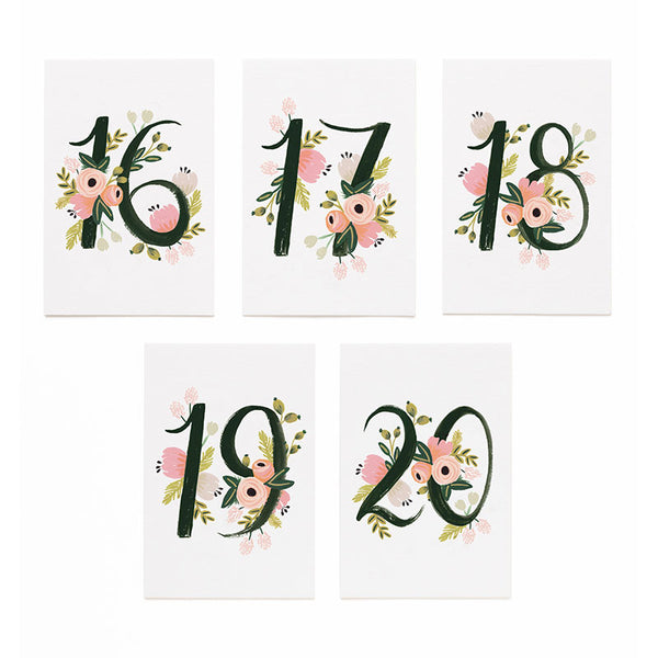 Botanical Table Numbers 16-20 Place Cards