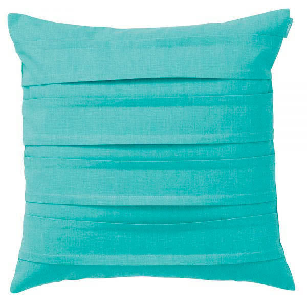 Klotz Turquoise Double Pleat 47x47cm Linen Cushion Cover