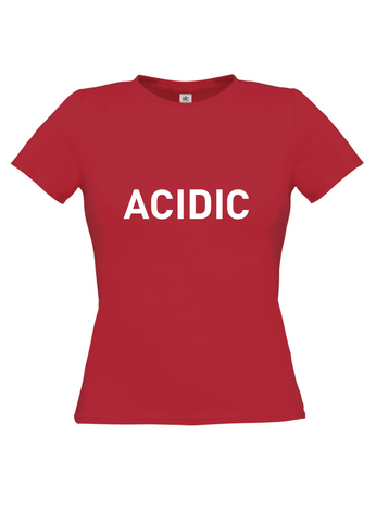 Red t-shirt with ACIDIC in white text