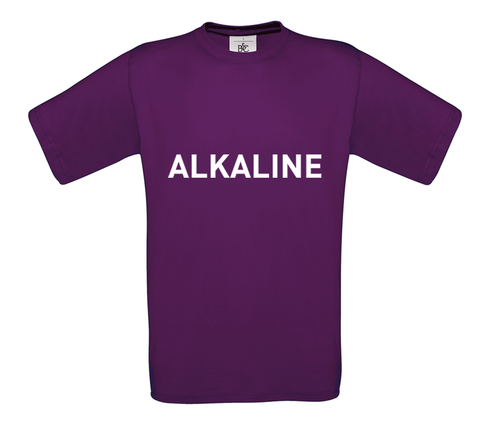 Purple t-shirt with ALKALINE in white text