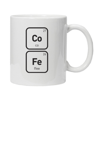 White mug with Co 27 and Fe 26 in black text