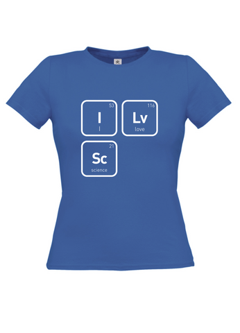 Blue t-shirt with I 53 Lv Love 116 Sc Science 21 in white text