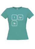 Turquoise t-shirt with I 53 Lv Love 116 Sc Science 21 in white text