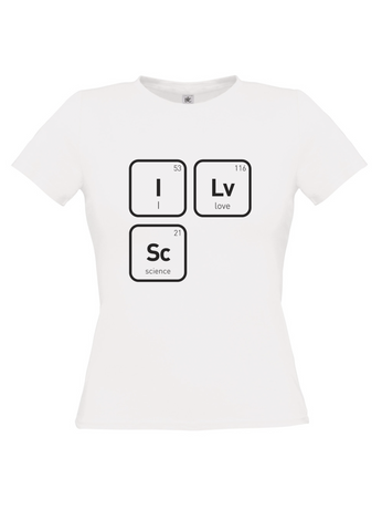 White t-shirt with I 53 Lv Love 116 Sc Science 21 in black text