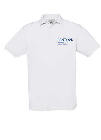 White polo shirt with CSciTeach Chartered Science Teacher in blue text