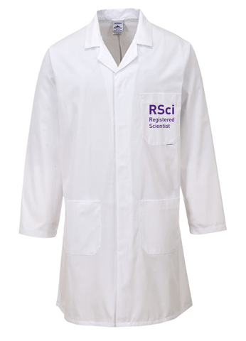 White laboratory coat with RSci Registered Scientist on left breast pocket