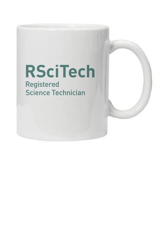 White mug with RSciTech Registered Science Technician in turquoise text