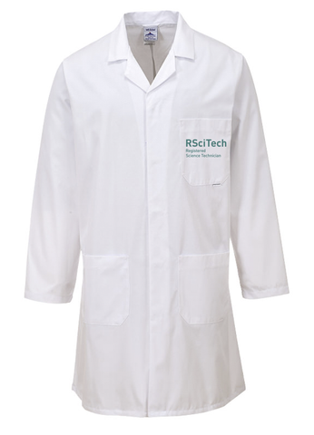 White laboratory coat with RSciTech Registered Science Technician on left breast pocket