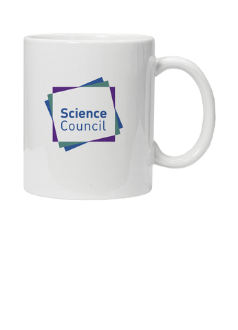 White mug with Science Council logo