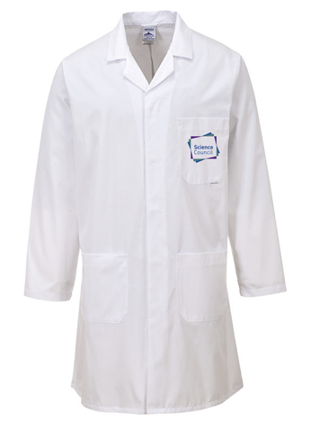 White laboratory coat with Science Council on left breast pocket
