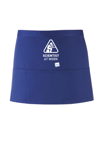 Scientist At Work Royal Blue Apron with Microscope Image