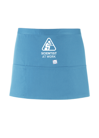 Scientist At Work Turquoise Apron with Microscope Image