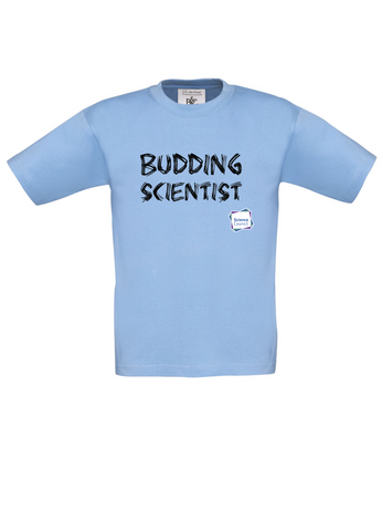 Budding Scientist Sky Blue Kids T-Shirt with bear paw writing