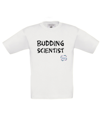 Budding Scientist White Kids T-Shirt with bear paw writing