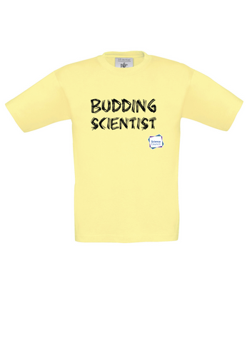 Budding Scientist Yellow Kids T-Shirt with bear paw writing
