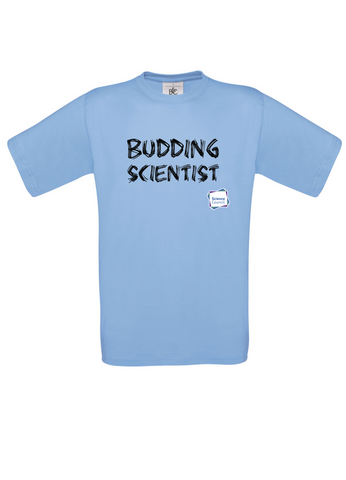 Budding Scientist Sky Blue Adults T-Shirt with bear paw writing