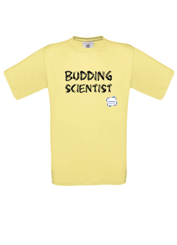 Budding Scientist Yellow Adults T-Shirt with bear paw writing