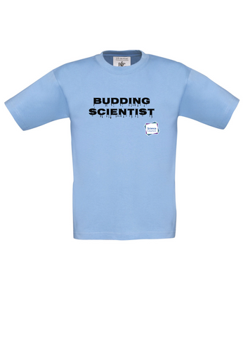 Budding Scientist Sky Blue Kids T-Shirt with dripping writing