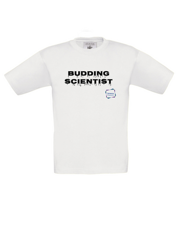 Budding Scientist White Kids T-Shirt with dripping writing