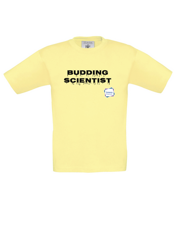 Budding Scientist Yellow Kids T-Shirt with dripping writing