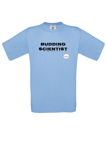 Budding Scientist Sky Blue Adults T-Shirt with dripping writing