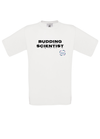 Budding Scientist White Adults T-Shirt with dripping writing