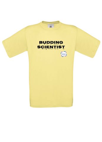 Budding Scientist Yellow Adults T-Shirt with dripping writing