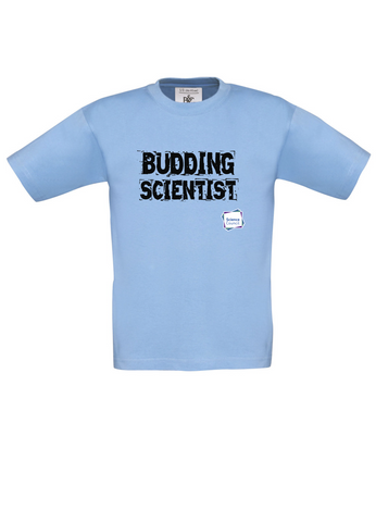 Budding Scientist Sky Blue Kids T-Shirt cut out writing
