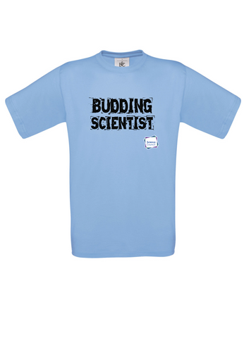 Budding Scientist Sky Blue Adults T-Shirt cut out writing