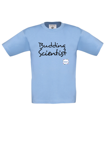 Budding Scientist Sky Blue Kids T-Shirt handwritting