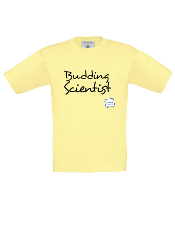 Budding Scientist Yellow Kids T-Shirt handwritting