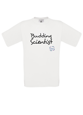 Budding Scientist White Adults T-Shirt handwritting