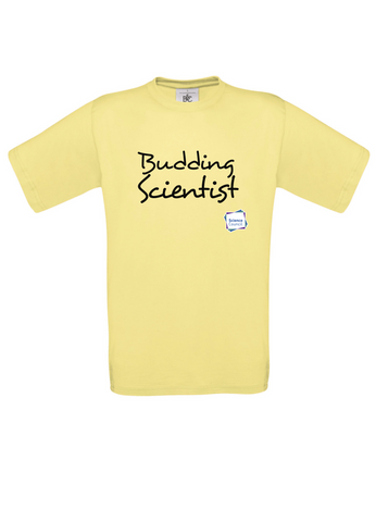 Budding Scientist Yellow Adults T-Shirt handwritting